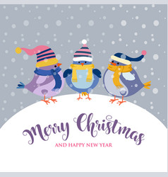 funny christmas card with birds vector image