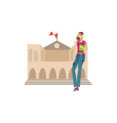 Girl holding book standing vector