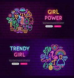 girl power website banners vector image