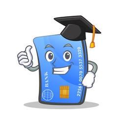 graduation credit card character cartoon vector image
