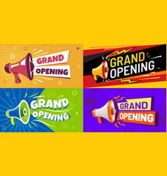 Grand opening banners invitation card with vector