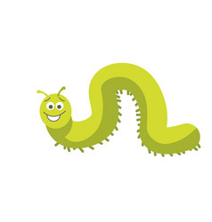 Green caterpillar with smiling face and small feet vector