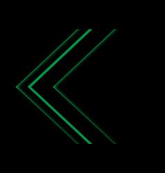 green light neon arrow direction on black vector image