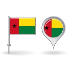 Guinea-Bissau pin icon and map pointer flag vector image