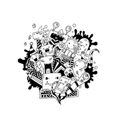 hand drawing doodle monsters on white vector image