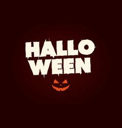 happy halloween text logo with pumpkin vector image