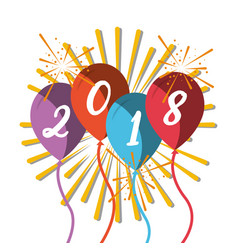 happy new year 2018 colored balloons sparkles vector image