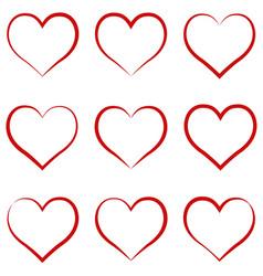 heart outline red set symbol friendship vector image