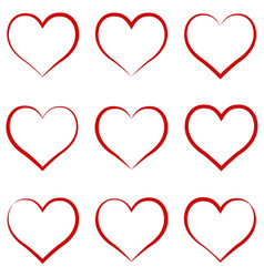 heart outline red set symbol of the friendship vector image