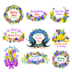 Hello spring floral frame and border icon set vector