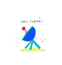 Hey there universe space satellite star card vector