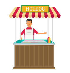 Hot-dog seller vector
