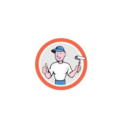 House Painter Paint Roller Thumbs Up Cartoon vector