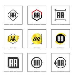 Initial letter aa logo set design vector