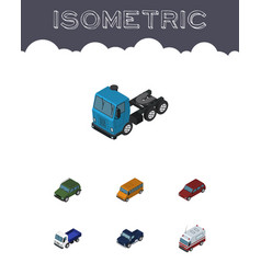 Isometric car set of truck autobus suv and other vector