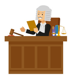 Judge read the law book at the court vector