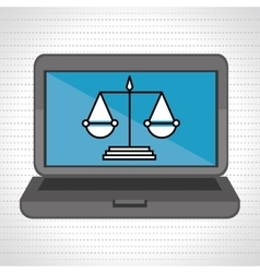 Laptop and justice isolated icon design vector
