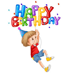 little boy and happy birthday balloon vector image