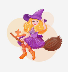 Little witch on broom in purple hat with funny vector