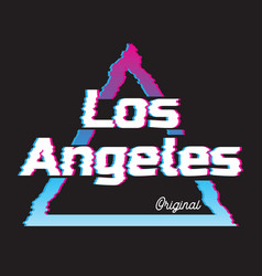 Los angeles city glitch effect retro vector