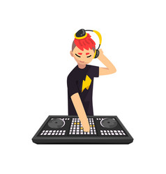 Male dj in headphones playing track and mixing vector