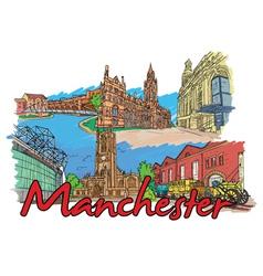 Manchester doodles vector