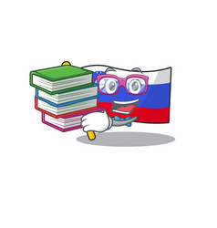Mascot flag slovenia with in student bring book vector