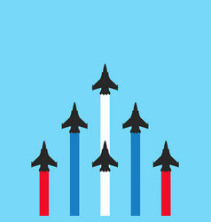 military jets with colored trails on blue vector image
