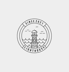 Minimalist lighthouse ocean line art logo design vector