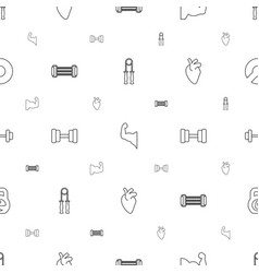 Muscle icons pattern seamless white background vector