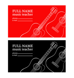 Music teacher business card guitar vector