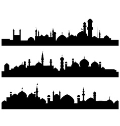 muslim cities silhouettes vector image