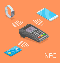 nfc isometric flat concept vector image