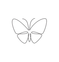 one continuous line drawing elegant butterfly vector image