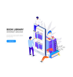 online library concept smartphone with vector image