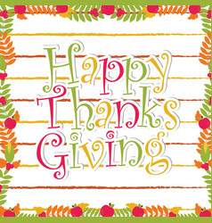 Printhappy thanksgiving text on maple leaves frame vector