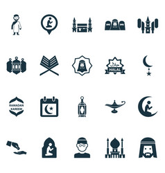 Ramadan icons set with arabian audio mecca and vector