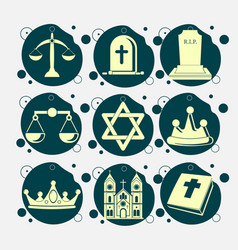 Religion icon set with holy bible church grave vector