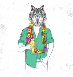 Retro hipster animal wolf with tropic cocktail vector