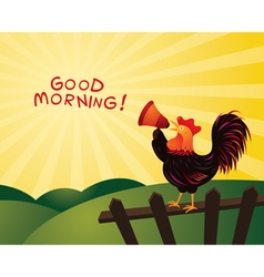 Rooster Crowing and Announcing with Megaphone vector