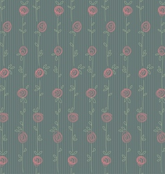 Roses seamless green vector image