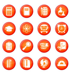 school education icons set red vector image