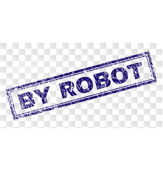 Scratched by robot rectangle stamp vector