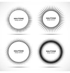 set black abstract halftone circles logo vector image