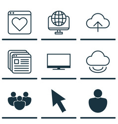 Set of 9 online connection icons includes data vector