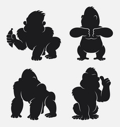 set of gorilla silhouettes cartoon with different vector image