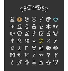 Set of Halloween Line Art Icons Pumpkin Skulls vector image