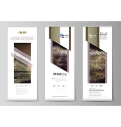 Set of roll up banner stands flat design vector