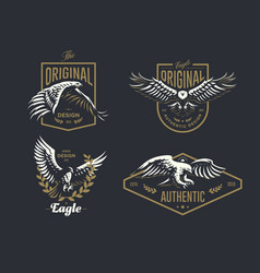 set of the vintage logo with the eagle vector image