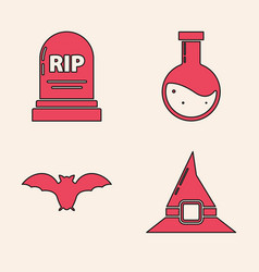 Set witch hat tombstone with rip bottle vector